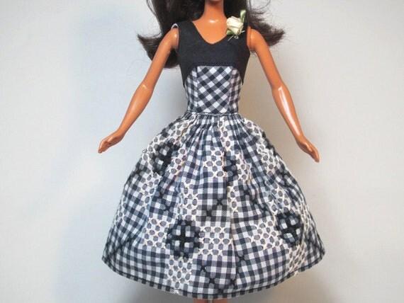 Vintage Black & Cream Embroidered Gingham Apron Barbie Doll Dress Handmade Barbie Doll Clothes