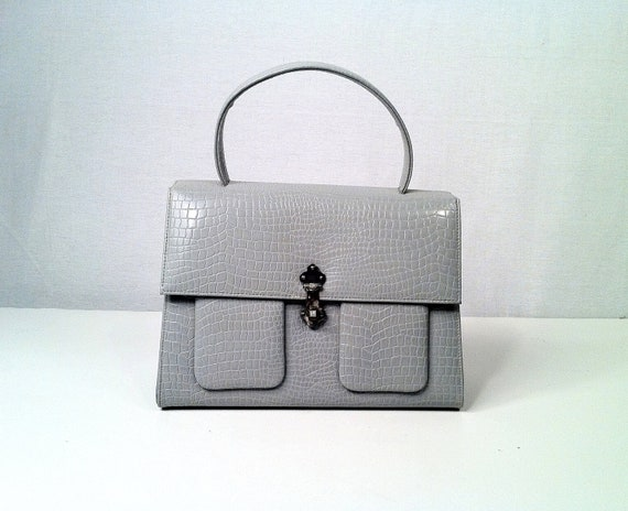 Vintage 1950s Dove Grey Faux Reptile Purse - Handbag - CORET - Single Handle
