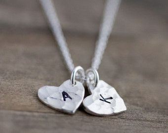 Personalized Womens Heart Mom Jewelry Gift - Wife Girlfriend Gift - Initial Silver Necklace Gift Mom Mothers Necklace Monogram Necklace -