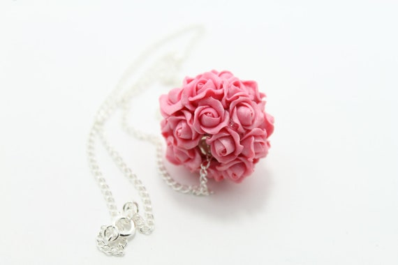 Pink Flower Necklace Rose --  Wedding Necklace  -- Floral Necklace -- pandora bead --Free Shipping