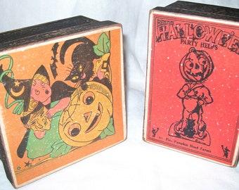 Vintage Look Halloween Scary Lithos Trinket Goodie/ Gift /Display Boxes