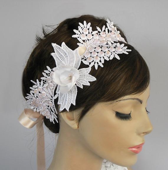 Wedding Hair Fascinator, Bridal Headband, Venetian Lace Applique, Crystal Beads Embroidery, Romantic, Shabby Chic, Handmade