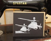 Flat A2 Card with Kiowa Helicopters