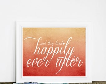 Wedding Typography Sign Happily Ever After Wedding Sign Art - Autumn Wedding Rust Orange Cream Ombre