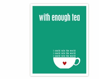 With Enough Tea Digital Art Poster Typographic Print - Pantone Emerald Green Typography Teacup