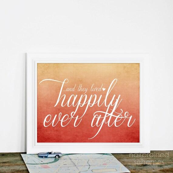Wedding Typography Sign Happily Ever After Wedding Sign Art - Autumn Wedding Rust Orange Cream Ombre