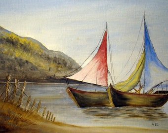 vintage painting sailboats colorful sails