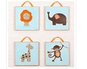 Safari set for Baby Nursery - Original acrylic Painting on Canvas - Safari - Jungle - Wall Hanging - Baby Shower