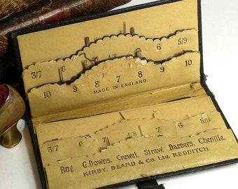 Vintage Leather Embossed Graduated Needle Case