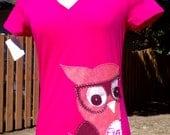 Pink Owl T-shirt, Large