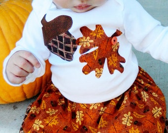 Boy or girl, toddler, tween, and baby knit SHIRT with fun fall print autumn leaf and acorn applique in sizes NB - 16 Thanksgiving, fall