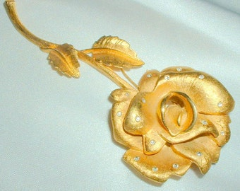 Vintage Golden Rhinestone Rose Brooch