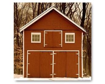 "RED BARN photo,  20""x20"" photo, farm landscape photography, country life photo, winter barn, farmhouse chic, home decor, rural, rustic art"