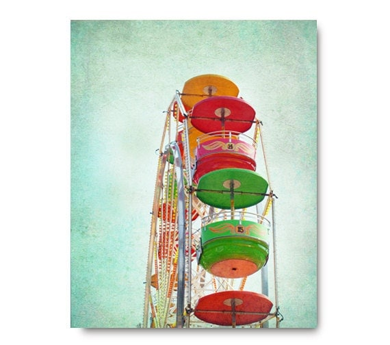 Ferris Wheel photo, bright, green, red, orange, yellow, colorful, summer, fair, midway, teal, mint, turquoise, circus, pink
