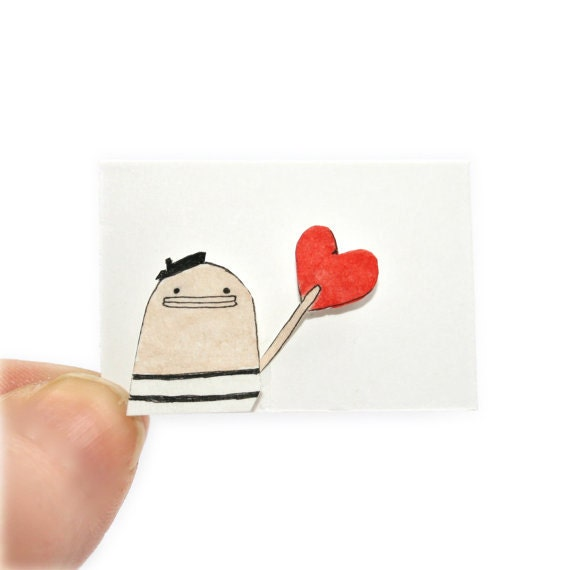 Miniature Valentine Card & Tiny Envelope - Tiny Greeting Card, Original Miniature Painting, Bonjour, French Poosac with Red Love Heart