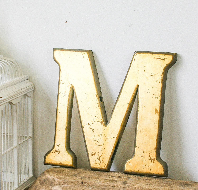 Vintage shop front letter m 24 carat gold leaf shop front for Antique letters