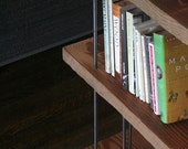 modern industrial book shelf from reclaimed old growth wood and recycled content steel - bookshelf - shelving