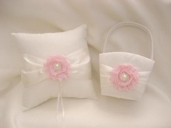 Flower Girl Baskets And Ring Pillows : Flower girl basket wedding ring pillow and
