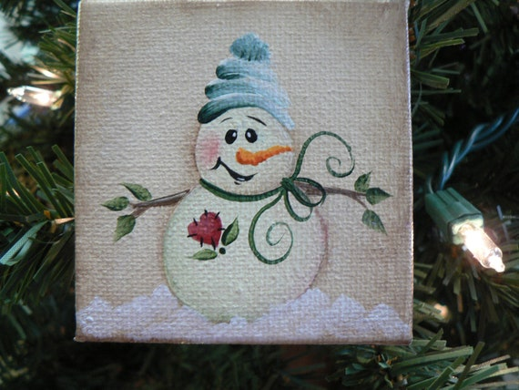 Hand painted mini canvas snowman ornament by traditionsbylinda