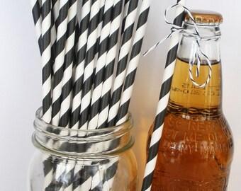 "25 ""Extra Long"" BLACK & WHITE Stripe Paper Straws, 10.5"" Weddings Birthdays Paper Drinking Straws Soda Bottle Straws Party Straws Weddings"