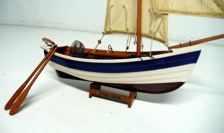 Vintage Model Scale Fishing Boat Nautical Decor