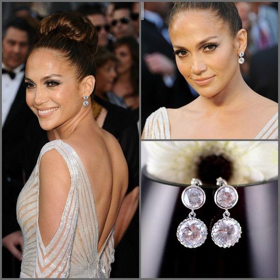 Bridal Earrings Celebrity Jewelry Wedding Earrings Cubic Zirconia Bride Earrings White Crystal Wedding Jewelry CZ Bridesmaid Earrings