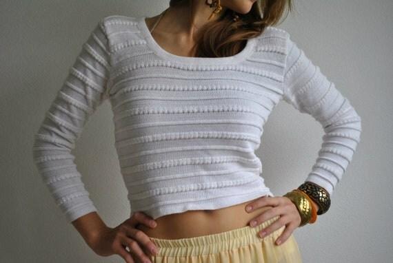 White Half Sweater Vintage