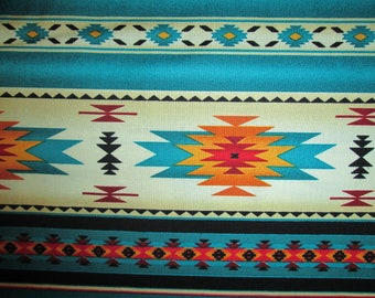Navajo Teal Gold Tradional Border Cotton Fabric Fat Quarter Or Custom Listing