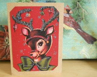 Rudolf Deer Holiday Christmas Cards Set of 8 Vintage Deer Christmas Cards moose Christmas Cards Rudolf cards set of 8