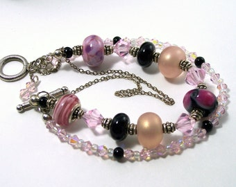 Pink and Black lampworked Glass Bracelet with Silver Plated Findings