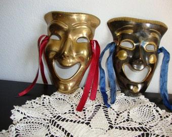 Pair Brass Mask, Harlequin Mardi Gras,  Pair Happy Face Masks,  Wall Decor,  2 Brass Masks