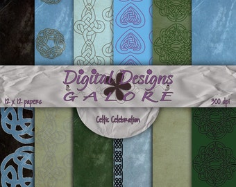 Celtic Celebration Digital Paper Pack Set of 12 - Commercial and Personal Use - Digital Designs Galore
