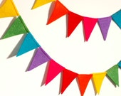 Festive Rainbow Felt Flag Bunting Banner Garland 6 ft - Perfect Birthday and Party Decoration