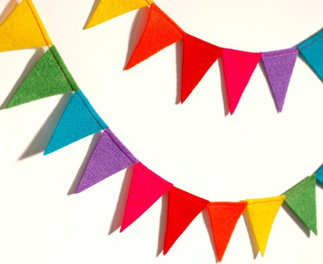 Festive rainbow felt flag bunting banner garland 6 by brooklynowl