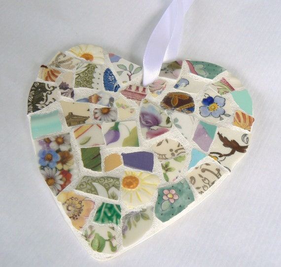 Mixed Color China Mosaic Heart  Pique Assiette  Ornament Made to Order