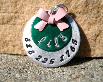 The Lily (#020) - Unique Handstamped Pet ID Tag Layered 2 Disc Bow Dogs