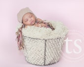 Knit Baby Hat for Photography Prop Newborn Cotton Long Braided Tassels Light Brown Texture Ties