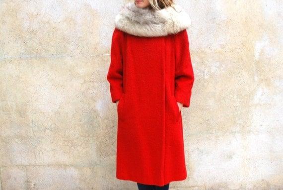 Vintage 1960s LILLI ANN Paris San Francisco red wool coat- 60s wool coat / fur collar - medium