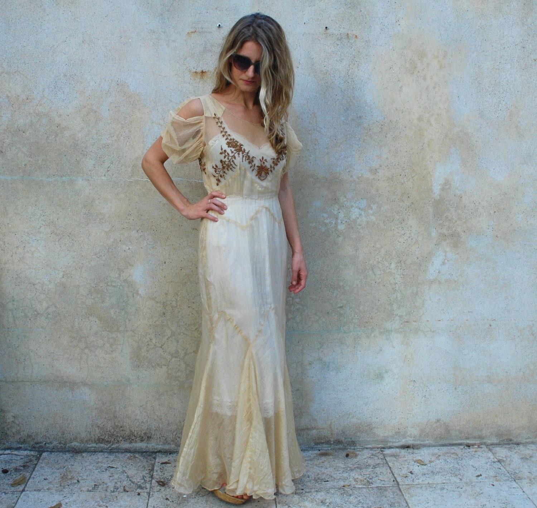 1930s Sheer Silk Wedding Dress 30s Museum Quality Boardwalk