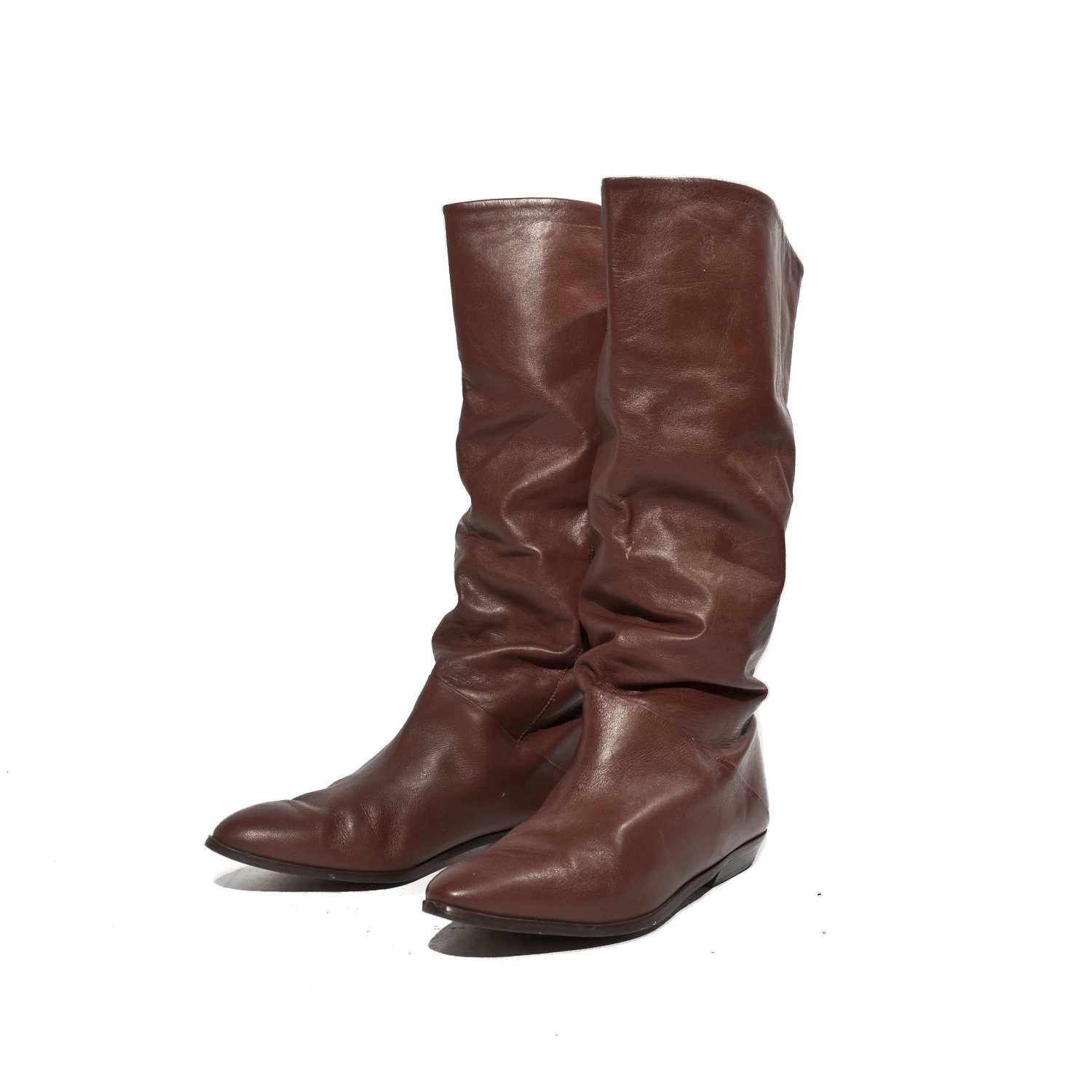 80s fashion slouch boots in brown s by