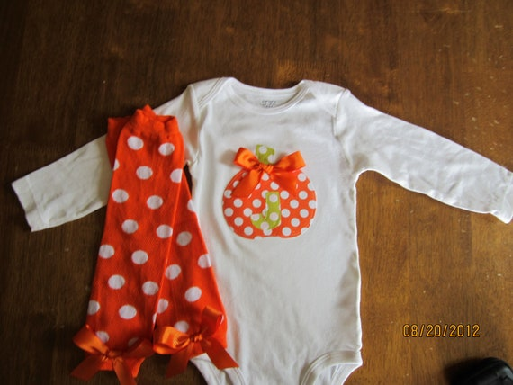 Adorable Inital Fall/Pumpkin Bodysuit with matching leggings and Bows Any Size newborn to 24 months onesie or shirt size 2 4 or 6