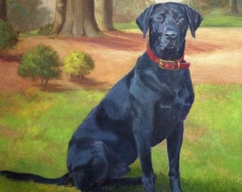 Black Labrador Art, Labrador Retriever Print, Labrador Dog Art Print, Black Lab Retriever Print from Original Oil Painting by P. Tarlow