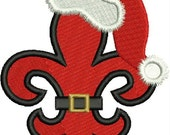 Santa Fleur de lis,Applique,  New Orleans, Louisiana Fleur de Lis, Christmas Fleur de lis, Machine Embroidery Design, Embroidery Design