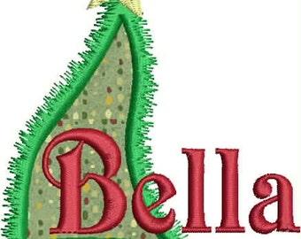 Applique Christmas Tree Alphabet Embrodery, Christmas Tree Embroidery, Christmas Font