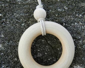 Simple Wood Nursing Teething Necklace Vegan Organic Cotton