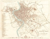 Vintage Map - Rome, Italy 1830