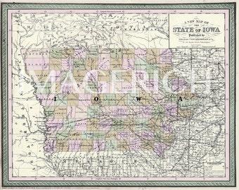 Vintage State Map - Iowa 1854
