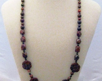 Brecciated jasper and brass flower necklace CHARITY DONATION