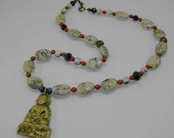 Red, white and Buddha necklace: charity donation