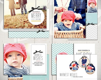 Christmas Card Templates: Merry Little Christmas - Set of Four 5x7 Holiday Card Templates for Photographers